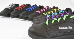 BalancePlus 400 series curling shoes with coloured shoelaces