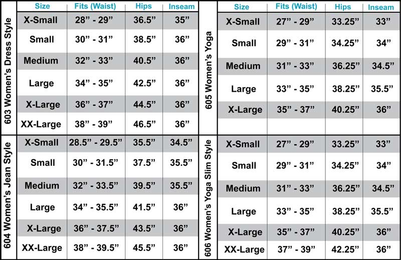 603, 604, 605, 606 Pants Fitting Assistance Chart