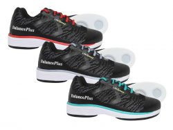 BalancePlus 700 series curling shoes in red, grey & teal